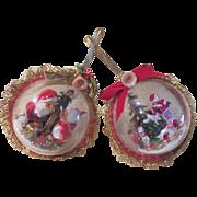 Santa kissing Mrs Clause and Christmas Train Ornaments - b177