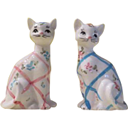 Pink and Blue Plaid Cat Salt and Pepper Shakers - b178