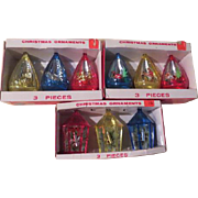 Jewel Brite teardrop and Decagon Diorama Christmas Tree Ornaments in Boxes. - b179