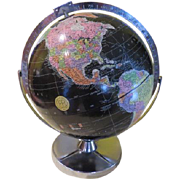 Replogue Black ocean Encyclopedia Brittannica Globe on Chrome Base - Red Tag Sale Item