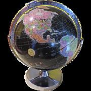 Replogue Black ocean Encyclopedia Brittannica Globe on Chrome Base