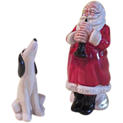 Musically Inclined Santa and Hound Salt and Pepper Shakers