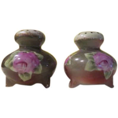 Hand Painted Flowers Salt and Pepper Shakers - b163
