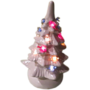 Tiny White Ceramic Christmas Tree with Cororlful bird Lights