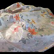 Daylilies Hand Screened Grey Watkins Oilcloth Fabric - b39