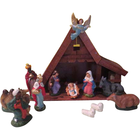 "A-frame Nativity with ""Silent Night'' Music Box - b"