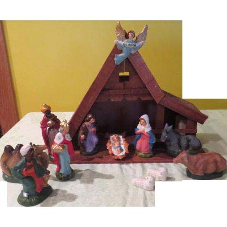 "A-frame Nativity with ""Silent Night'' Music Box - b"