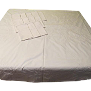 Elegant White Embroidered and Inlaid Tablecloth and Napkins - L4