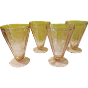 "Jeannette Glass Pink Floral ""Poinsettia"""" Footed Tumblers - b182"