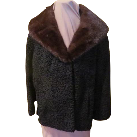Elegant Embroidered Lining Persian Lamb Jacket with Mink Collar