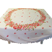 Ring Around the Floral fringe Tablecloth - b182