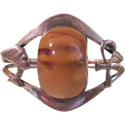 Ankh Egyptian Themed Cuff Bracelet with Amber - Free shipping