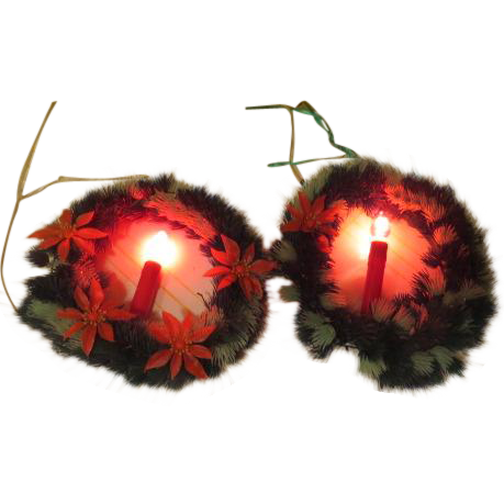 Poinsettia Decked Lighted Christmas Wreathes with Candles - b187