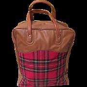Really Retro Red Plaid and Tan Vinyl Tote Bag - b185 - Red Tag Sale Item