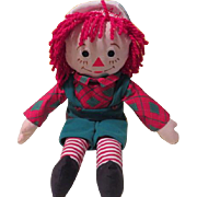 Green Overalls Raggedy Andy Rag Doll = b185