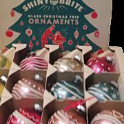 Shiny Brite Glass Christmas tree ornaments in Box - b186