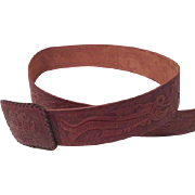 Embossed Tooled Leather Belt - b188