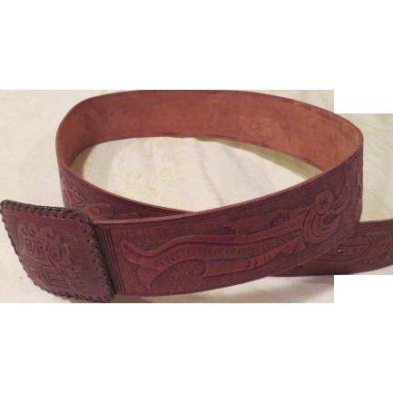 Embossed Tooled Leather Belt - b188