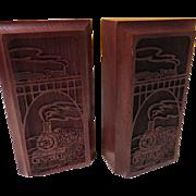 Choo-Choo-Choo Wood Carved Train Bookends - b186