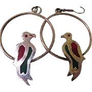 Polly Wants A Cracker Parrots on Rings Earrings - Free shipping