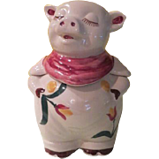 Shawnee Red Bandanna Smiley the Pig with Tulip Trim Cookie Jar - g