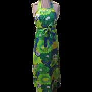Splashy Print Halter Back Wrap Dress