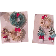 Miniature Bottle Brush Christmas Trees and Wreaths - b189