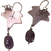 Grape Leaf Sterling with Amethyst Drop J-hook Earrings - Free Shipping