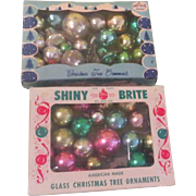 Tiny Christmas tree Ornaments in Shiny Brite Boxes - b190