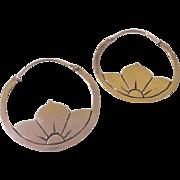 Flower Filled Silver Hoop Earrings - Free shipping