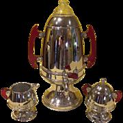 United Cherry Juice Red Bakelite Coffee urn and Creamer and Sugar - b188