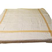 White Damask with Gold Stripe Tablecloth - L4