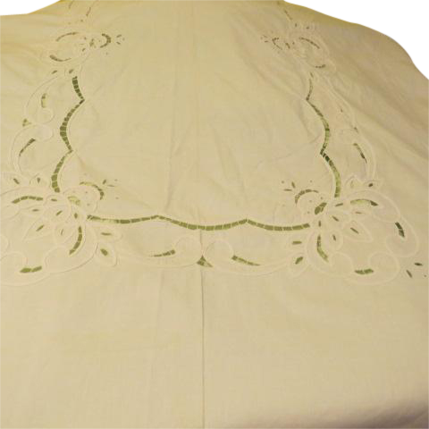 Appliques Ribbon and Cut-work Banquet Size Tablecloth