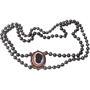 Black Cameo on white Double strand Necklace - Free shipping