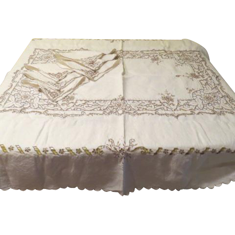 Maderia Cutwork flower Tablecloth and NapKins - L4