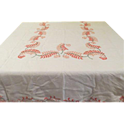 Peach plume Embroidered Tablecloth - L4
