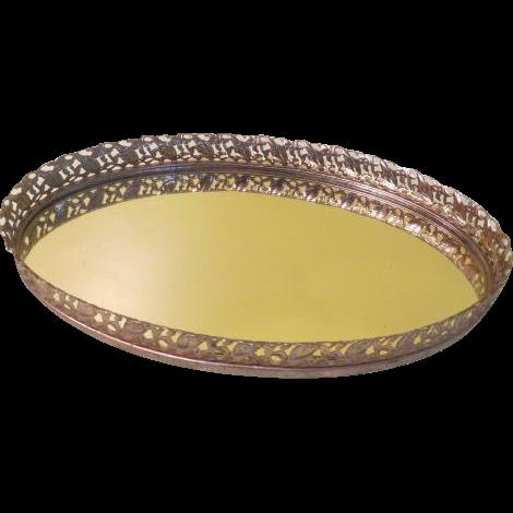 Oval Mirrored Vanity Tray - b189