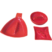 Mid-century Orange Red Wing Ashtrays - b189