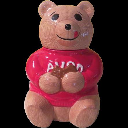Avon Bear in red Sweater Cookie Jar - g