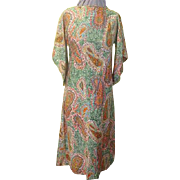 Groovy Green and Outrageous Orange Paisley Print Skimmer