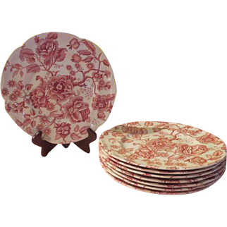 Johnson Bros. English Chippendale Red Sovereign Dinner Plates