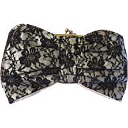 Lace Over Satin Clutch Handbag/purse - b192