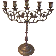 Brass Monkey and Lion 5 Lite Candle Holder - g