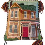 I See a Red Door Embroidered Needlepoint Pillow L3