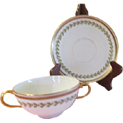 Limoges Guerin Pouyat Elite Green Band with leaves Cream soup with Saucer - nsp