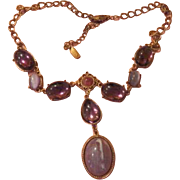 Pinks and Purples in Rose Tone Y-necklace - free shipping