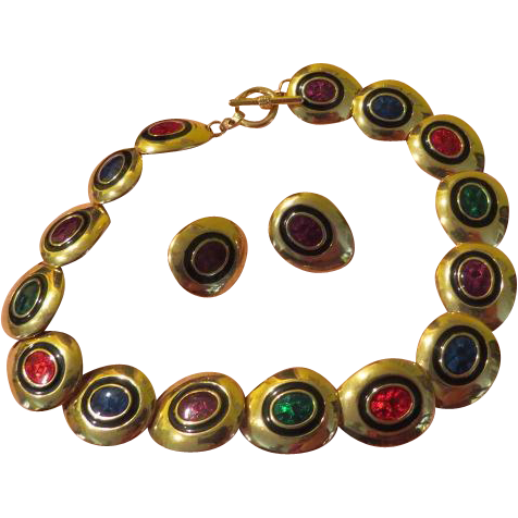 Jewel-tone Necklace and Post Earrings - free Shipping