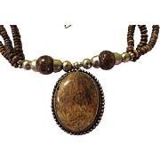 Earthy Brown Multi Strand Necklace - free shipping