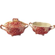 Johnson Bros. English Chippendale Red Sovereign Creamer and Covered Sugar