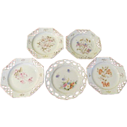 Flower Decorated Pierced Rim Plates - b193
